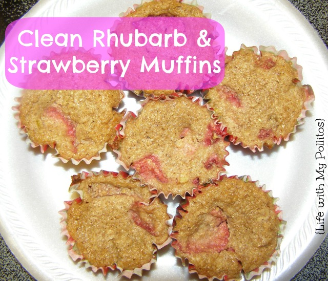 clean rhubarb and strawberry muffins